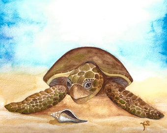 Sea Turtle with Shell - Digital Downloadable Print
