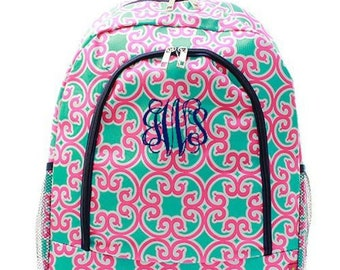 Monogrammed Backpack Personalized Pink Aqua Moroccan Backpack Personalized Backpack Kids Backpack Girls Backpack Boys Backpack