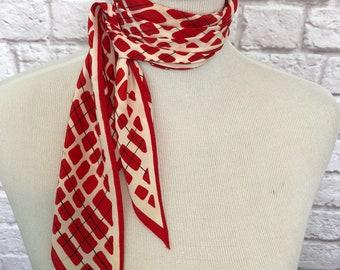 Vintage Vera Scarf, Red White and Blue Scarf, Long Scarf, Vera Neumann, Long Skinny Scarf, Head Scarf Hair Wrap, Scarf Sash, Boho Head Wrap