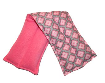 Lavender Flax Seed Neck Wrap Pack Pink Cotton fleece Neck Pillow Hot Cold Pack  Microwave