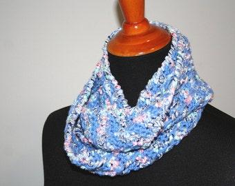 Blue Crochet Cowl, Blue Striped Cowl, Small Crochet Cowl, Variegated Blue Cowl