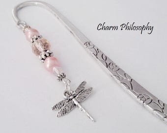 Dragonfly Bookmark - Silver Dragonfly Charm - Unique Beaded Charm Bookmark - Teacher Gifts