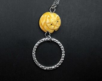Cat Eyeglass Chain Reading Lariat Glasses Badge Holder Kitty Eye Glass Lanyard Cat Lover Gift