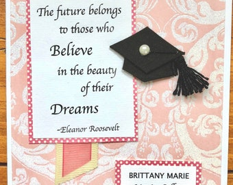 Personalized Graduation Greeting Card- Female-With Name, School, Year-Perfect For Daughter Or Anyone
