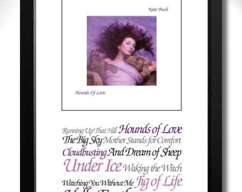 KATE BUSH Hounds Of Love Limited Edition Unframed A4 Art Print with Song Titles