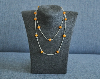 Vintage pressed butterscotch Baltic Amber necklace.
