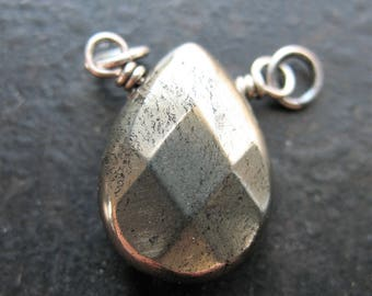 Faceted Natural Pyrite Pendant Connector - 20mm in length