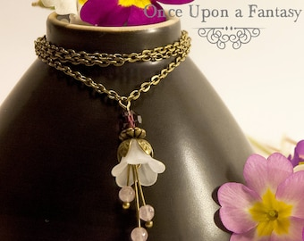 Romantic necklace flower purple and white - spring 2015 Once Upon a Fantasy