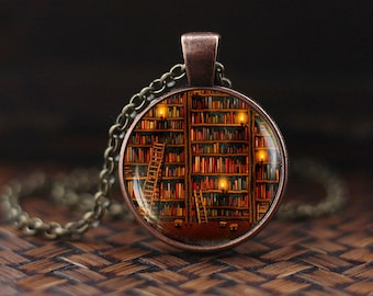 Library necklace, Book Necklace, Book Jewelry, Vintage Library Books, books gift, writer teacher gift, Bibliophile, Book Lover Necklace