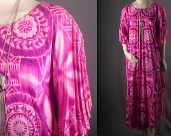 Maxi Dress Caftan pleated pink long floral hippie ethnic boho bohemian hippie size OSFA S M L XL
