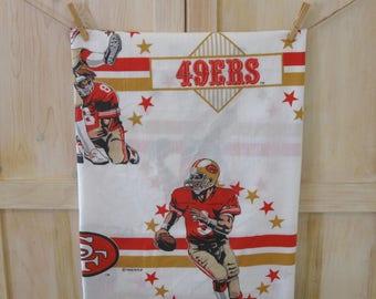 San Francisco 49ers Bedding, NFL Football Flat Bed Sheet, Vintage Football Decor Fabric, Football Teams, Sports Decor, SF 49ers Sheet Linens
