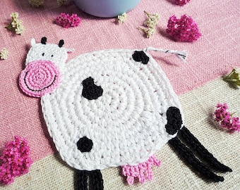 Cow Coasters - Animal Coasters - Farmhouse Table Decor - Cow Drink Coaster - Country Kitchen Decor - Wedding Gift - Set of 2 - Crochet Cow