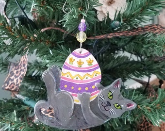 Cat Easter Egg Ornament - Gray Cat Ornament - Russian Blue Cat - Easter Decorations - Cat Lover Gift - Spring Decorations - Cat Decorations