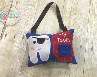 Pirate Tooth Fairy Pillow - Embroidered Tooth Pillow