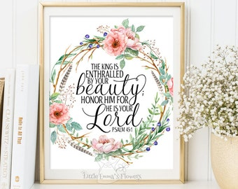 Printable Bible Verses Art Printable Scripture art nursery wall art decor nursery bible verse quote He is your Lord Psalm 45 11 3-20
