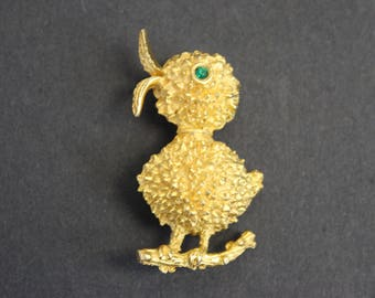 Vintage Fat Gold Chick Novelty Brooch (E9381)