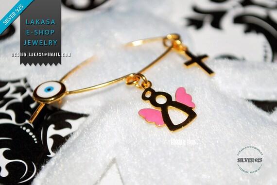 Pink Enamel Sweet Angel Baby Brooch Sterling Silver Gold plated Handmade Jewelry Cross Eye Happy Shower Day Religious Baptism Newborn Girl