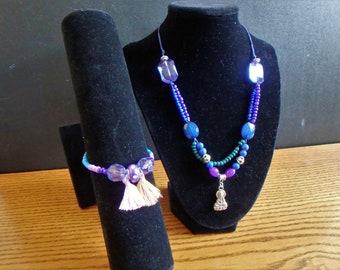 Buddha necklace and bracelet set