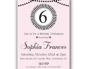 6th Birthday Invitations Pink And Black 7th Invitation 8th Girls Invites Invite