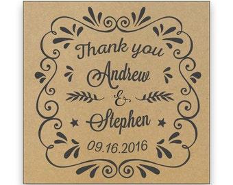 24 Personalized Custom Wedding Thank you Names stickers for gift package gold silver craft paper adhesive labels