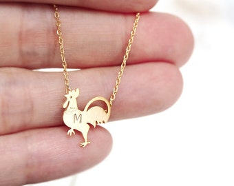 rooster necklace, Personalized necklace, initial necklace, Personalized Jewelry, friendship necklace,Chicken necklace, bird necklace,animal