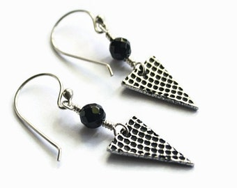 Onyx and Silver Earrings, Grid Texture, Triangles, Fine Silver PMC