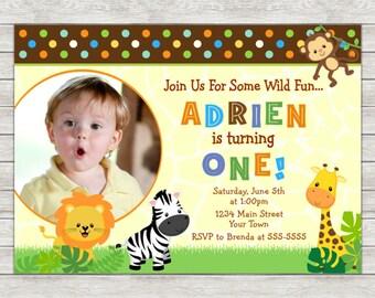 Safari Birthday Invitation, Jungle Safari Birthday Invitation - Digital File (Printing Services Available)