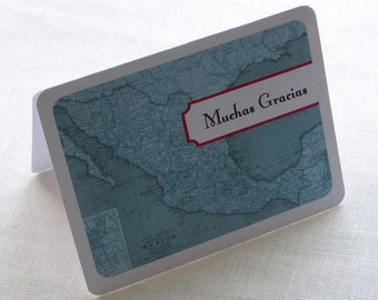 Mexico Map Thank You Card - Vintage Travel Destination Note Card Gift Set of 10 - Personalized