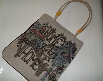 Vintage Handbag Tapestry Purse Home Tweet Home Tapestry Design Birdhouse Birds Design Springtime Purse Bird Lover Handbag Springtime Tote