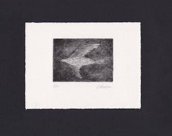 """Mezzotint """"Flight"""" original print"""