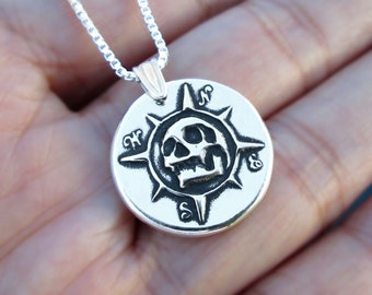 Pirate Compass pendant necklace Sterling Silver jewelry Silver necklace Skull jewelry Memento mori for men & women Jewelry handmade N-159