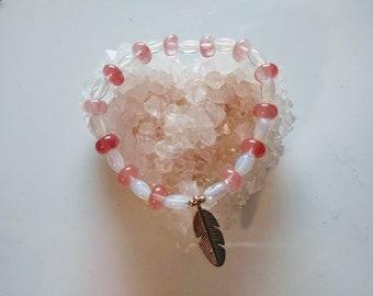 Moon Stone bracelet with cherry quartz
