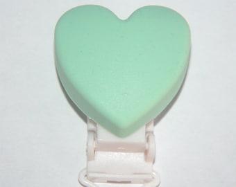 Silicone Mint heart clip