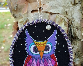 Owl in Tree Fabric Beaded Christmas Decoration Ornament