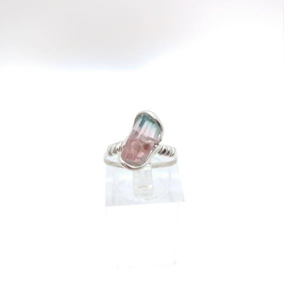 Pink Blue Cap Tourmaline Crystal Ring   Raw Stone Ring   Sterling Silver Ring Sz 6.25   Rough Crystal Ring   October Birthstone Jewelry