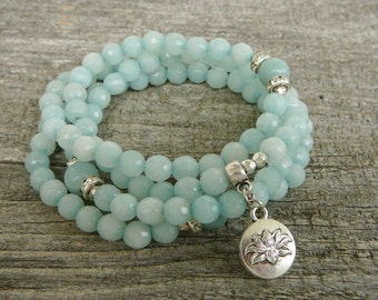 108 Mala Amazonite necklace, 108 mala Bracelet, Mala Necklace, Yoga Meditation Bracelet, Yoga Jewelry, Mala Bracelet, yoga necklace,