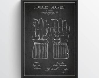 1915 Hockey Gloves Poster, Hockey Poster, Hockey Art, Hockey Decor, Home Decor, Gift Idea, SPHO11P