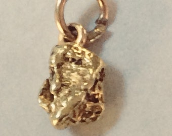 22K yellow Yukon gold nugget charm vintage antique # G 122