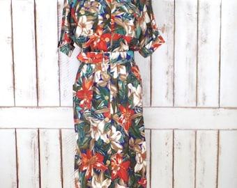 Vintage tropical floral 80s belted midi dress/short sleeve floral dress/button down dress