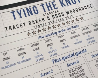 Personalised Cinema / Film/ Movie / Theatre / Hollywood themed Wedding Table Plan!