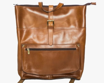Tan Brown Leather Laptop Backpack   Work Backpack