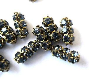 SWAROVSKI  beads, antique vintage 2 beads blue crystals in metal setting 15mmx7mm