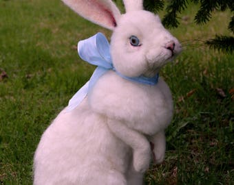 OOAK Needle felted Alpaca Life Size Blue Eye White Bunny Rabbit Semi Poseable Taxidermy type