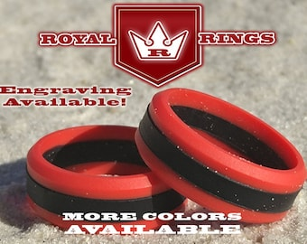 Men's Red & Black Silicone Wedding Ring for Firefighters Durable Flexible Wedding Ring Band Fathers, Military, Husband Crossfit Gym Fitness