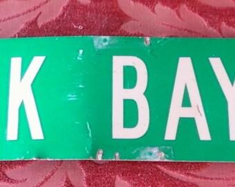 VINTAGE STREET SIGN, Oak Bay Rd, double sided, enameled metal, paint, decor, industrial, shabby