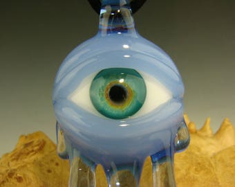 Glass ' Eye of Compassion ' Pendant lampwork Boro focal bead Totem VGW K Talamas (made to order)