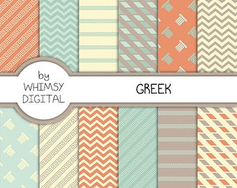 Greek Digital Paper with Greek Key Patterns, Columns, Waves, Chevron, and Broken Stripes in shades of Teal, Coral, White, and Gray