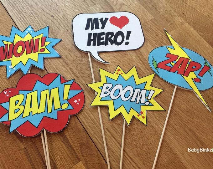 Photo Props: The Superhero Phrase Set (5 Pieces) - party wedding birthday pow bam zap centerpiece comic phrases