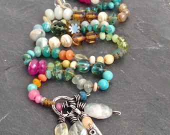 Colorful knotted necklace - boho 'love' pendant jewelry, semi precious Mother's Day gift for her by Mollymoojewels