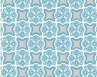 Rosecliff Manor Gray and Teal Fat Quarter Fabric by Emily Taylor - Riley Blake Designs
